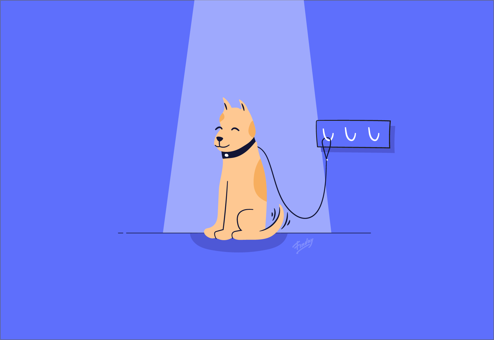 Illustration of a happy dog waiting for the owner